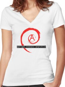 apt-get install anarchism  Women's Fitted V-Neck T-Shirt