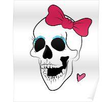 Cute Bow Girl Skull Poster