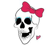 Cute Bow Girl Skull Photographic Print