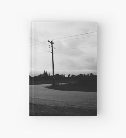 Black and white empty road Hardcover Journal