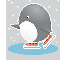 Happy Holidays - Ice Skating Penguin by Haley Luden