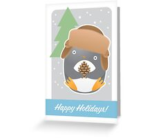 Happy Holidays - Deer Hunter Penguin Greeting Card