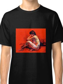 Female nude on Red Classic T-Shirt