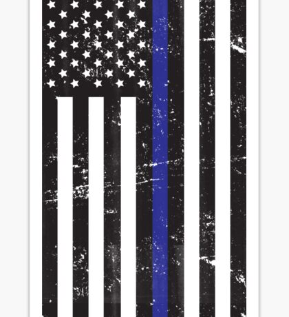 Distressed Blue Line Flag: Stars on left Sticker