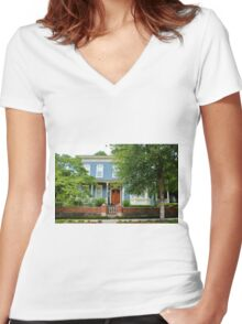 Blue And White House Women's Fitted V-Neck T-Shirt