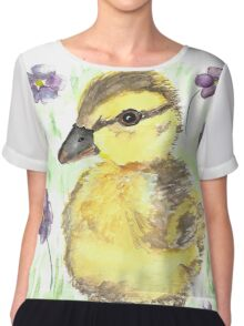 Spring Duckling Watercolor Painting  Chiffon Top