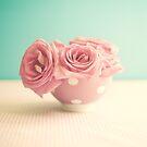 Soft Pink Roses in Polka Bowl  by Caroline Mint