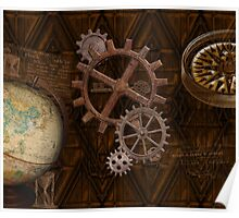 Steampunk Gears on Coppery-look Geometric Design Poster