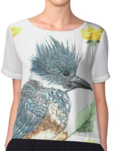 Belted Kingfisher Painting Watercolor  Chiffon Top