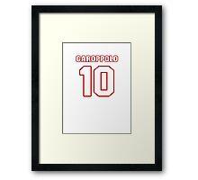 NFL Player Jimmy Garoppolo ten 10 Framed Print