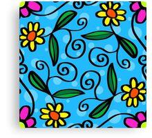 Flowers Happy Funny Design  Canvas Print