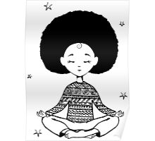 Girl sitting in the lotus position Poster
