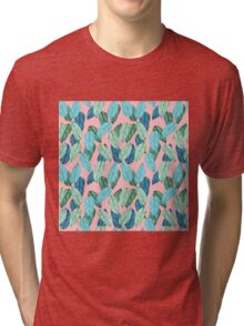 Tropical Leaves in Aqua and blue on coral Tri-blend T-Shirt