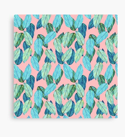 Tropical Leaves in Aqua and blue on coral Canvas Print