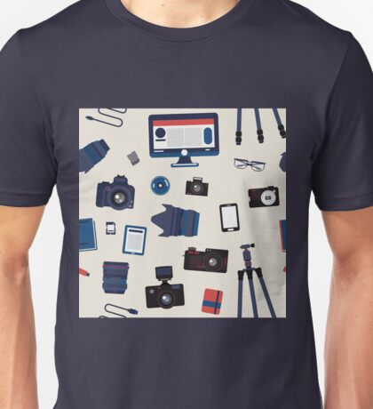 Photographer Set Seamless Pattern - Cameras, Lenses and Photo Equipment Unisex T-Shirt