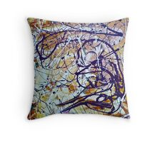Abstract Painting, Brush & Poured Throw Pillow