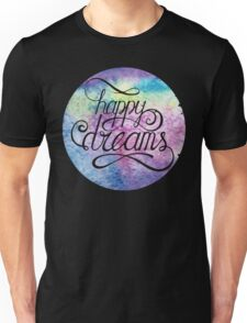 Letering Happy dreams. Watercolor abstract background Unisex T-Shirt