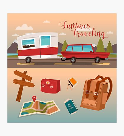 Family Vacation Time. Active Summer Holidays by Camper Photographic Print