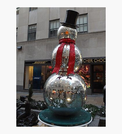 Snowman Sculpture, Rockefeller Center, New York City Photographic Print