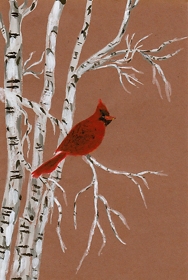 A Small Red Cardinal from Amphai by Baina Masquelier
