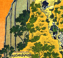 'Waterfalls in All Provinces' by Katsushika Hokusai (Reproduction) Sticker