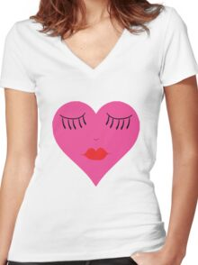 Lips and Lashes Heart Face Women's Fitted V-Neck T-Shirt