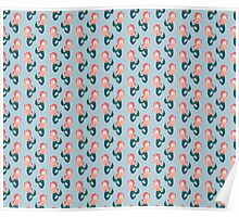 Pink Haired Mermaid Pattern Poster