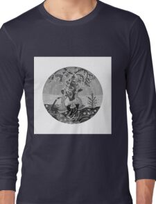 Lord Krishna by River Yamuna- in monochrome Long Sleeve T-Shirt
