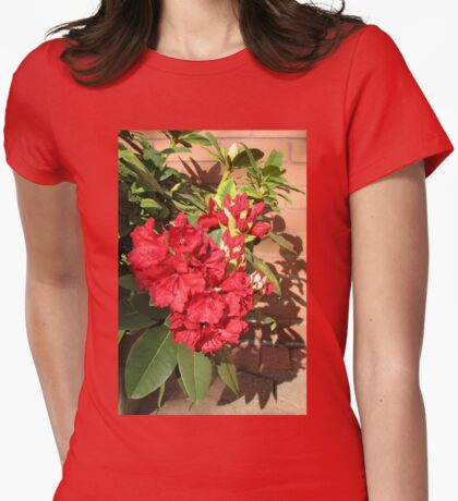 Red Rhodo - Blossoms and Buds Womens Fitted T-Shirt