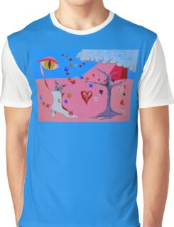 THE CAT WAKES UP IN A VALENTINE DREAM Graphic T-Shirt