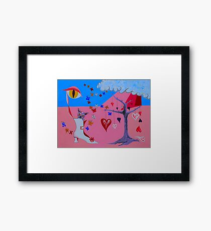 THE CAT WAKES UP IN A VALENTINE DREAM Framed Print