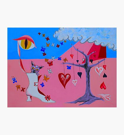 THE CAT WAKES UP IN A VALENTINE DREAM Photographic Print