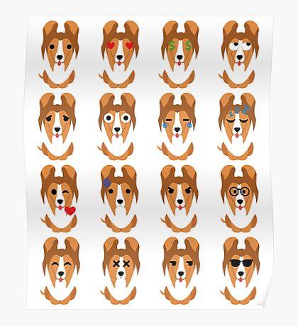 Sheltie Dog Emoji Different Facial Expression Poster