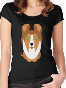Sheltie Dog Emoji Money Face Women's Fitted Scoop T-Shirt