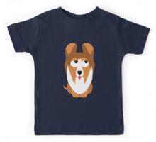 Sheltie Dog Emoji Think Hard and Hmm Kids Tee