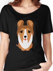Sheltie Dog Emoji Thirsty Women's Relaxed Fit T-Shirt