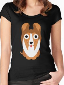 Sheltie Dog Emoji Shock and Surprise Women's Fitted Scoop T-Shirt
