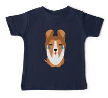 Sheltie Dog Emoji Teary Eye of Joy Baby Tee