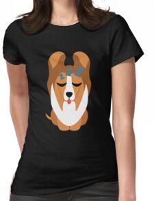 Sheltie Dog Emoji Sleep and Dream Womens Fitted T-Shirt