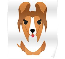 Sheltie Dog Emoji Angry and Mean Poster