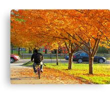 Cycling through Autumn, New York City Canvas Print