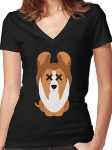 Sheltie Dog Emoji Faint and Knock Out Women's Fitted V-Neck T-Shirt