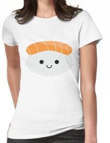 Salmon Sushi Emoji Happy Smiling Face Womens Fitted T-Shirt