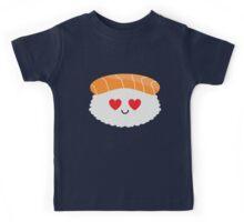 Salmon Sushi Emoji Heart and Love Eye Kids Tee