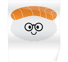 Salmon Sushi Emoji Nerd Noob Glasses Poster