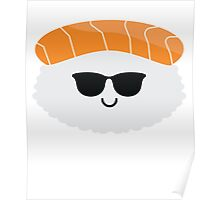 Salmon Sushi Emoji Cool Sunglasses Poster