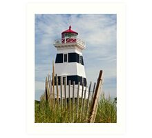 West Point Lighthouse and Dune Fence, PEI, Canada Art Print