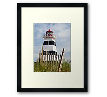 West Point Lighthouse and Dune Fence, PEI, Canada Framed Print