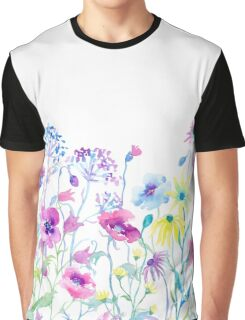 Watercolor Field of Pastel, Wildflower Meadow Graphic T-Shirt