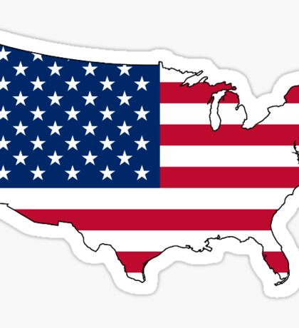 USA Flag Map Sticker